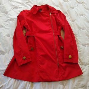 H&M Bright Red Trench Coat Size 8-12